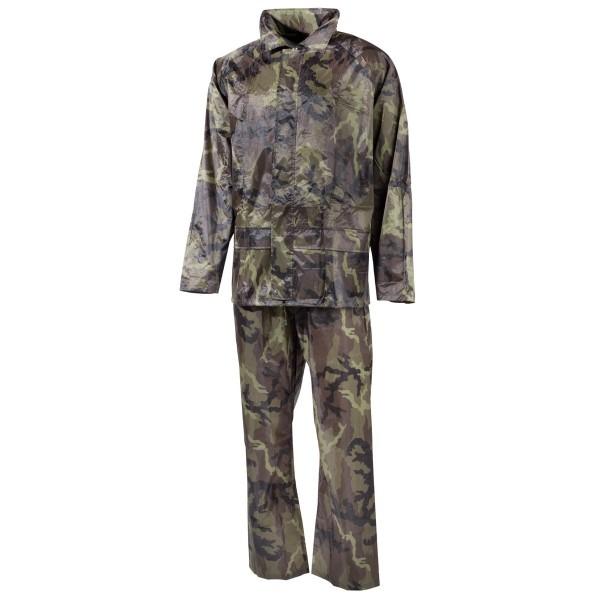 Regenanzug Jacke und Hose Polyester flecktarn vorn