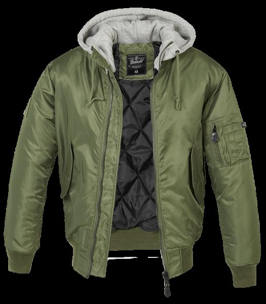 Brandit MA1 Hooded Sweat Jacket olive-grey vorn - armyoutlet.de