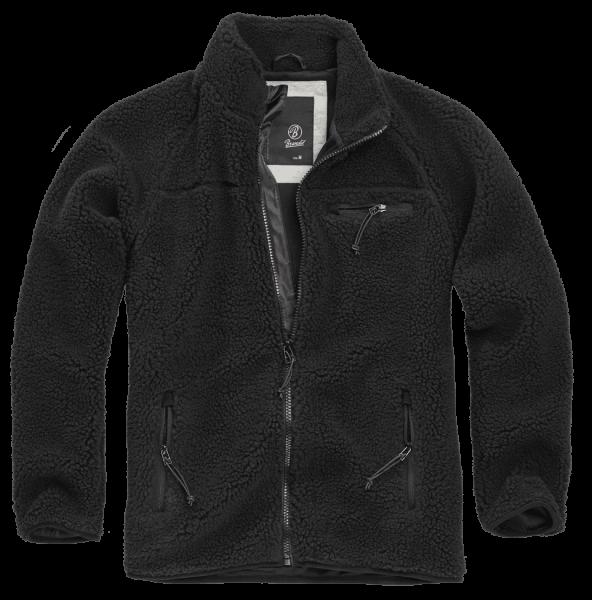 Brandit Teddyfleece Jacket schwarz vorn - armyoutlet.de