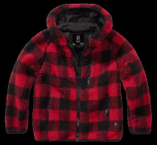 Brandit Kids Teddyfleece Jacket hood - red-black - vorn - armyoutlet