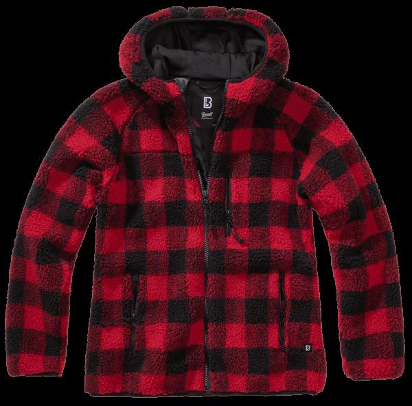 Brandit Ladies Teddyfleecejacket hood - red-black - vorn - armyoutlet