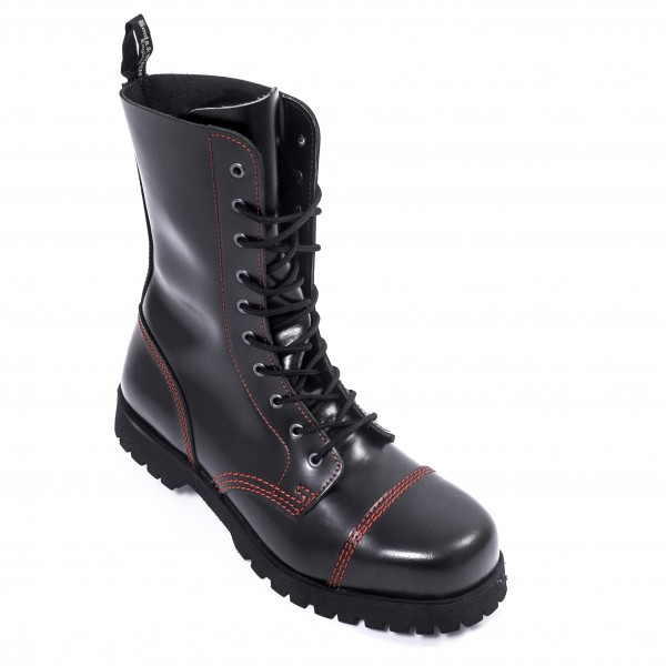 Boots & Braces 10 Loch Boots mit roter Naht