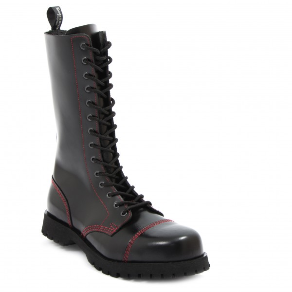 Boots & Braces 14 Loch Boots mit roter Naht