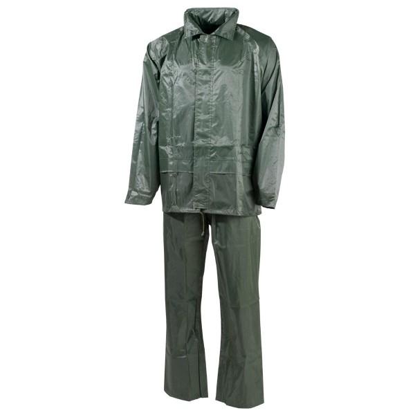 Regenanzug Jacke und Hose Polyester oliv vorn