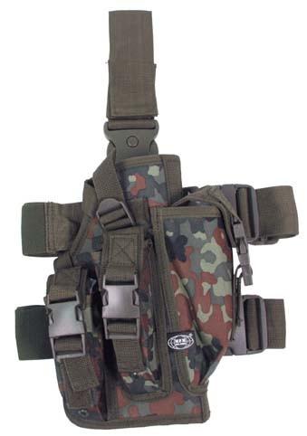 Pistolenbeinholster mit Bein- und Gürtelbefestigung rechts flecktarn