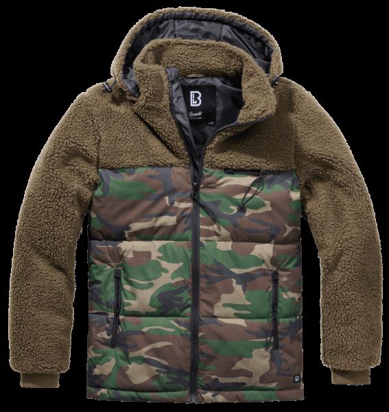 Brandit Jackson Teddyfleece Jacket oliv-woodland mit Kapuze vorn