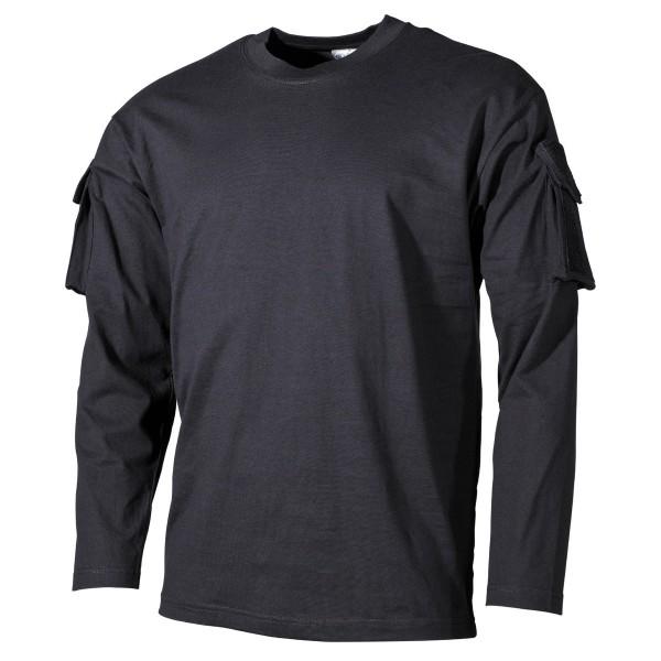 US Shirt mit Ärmeltaschen langarm