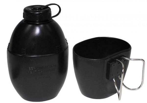 Britische Plastikfeldflasche mit Becher schwarz