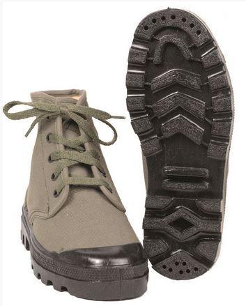 Französische Commando Schuhe Canvas oliv