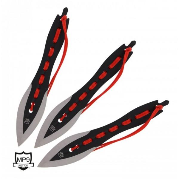 MP9 Wurfmesser 3er Set rot schwarz