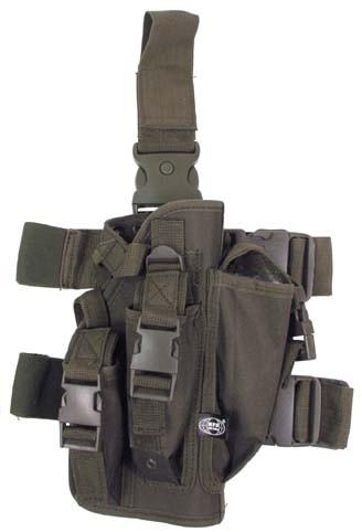 Pistolenbeinholster mit Bein- und Gürtelbefestigung rechts oliv