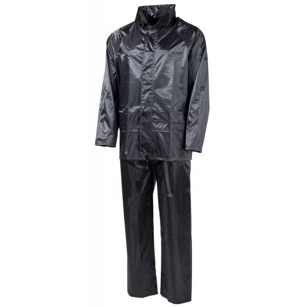 Regenanzug Jacke und Hose Polyester schwarz vorn