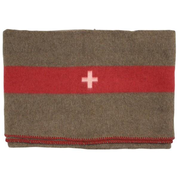 Schweizer Wolldecke braun 200x150 aussen