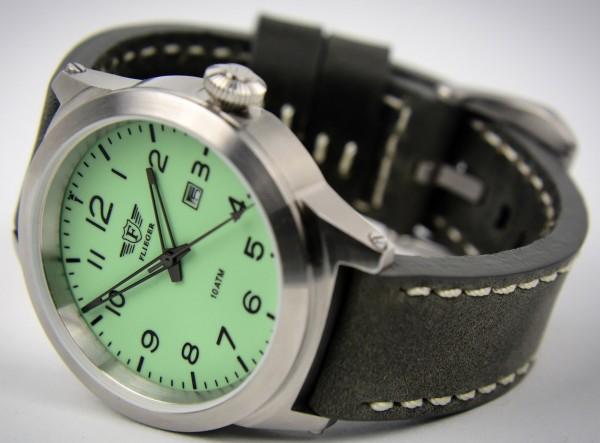 Armbanduhr FLIEGER mit Lederarmband grau