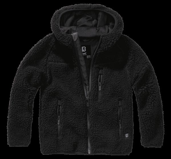Brandit Kids Teddyfleece Jacket hood - schwarz - vorn - armyoutlet