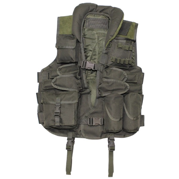 Tactical Weste mit Lederbesatz vorn