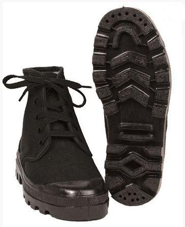 Französische Commando Schuhe Canvas schwarz