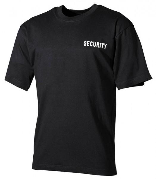Security T-Shirt schwarz mit Brust und Rückendruck schwarz vorn - armyoutlet.de