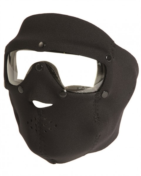 Neopren Gesichtsschutz Basic Klarglas schwarz