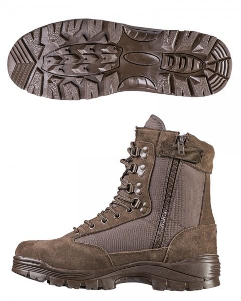 Tactical Boots mit Zipper braun mit Sohle