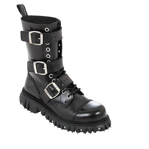 Boots & Braces 12 Loch 3 Buckle Massiv schwarz