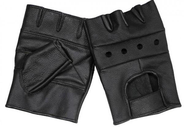 Lederhandschuhe ohne Finger schwarz