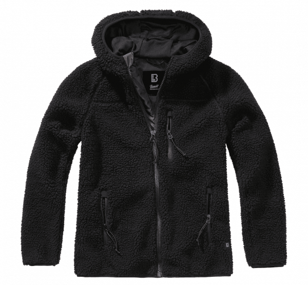 Brandit Ladies Teddyfleecejacket hood - schwarz - vorn - armyoutlet