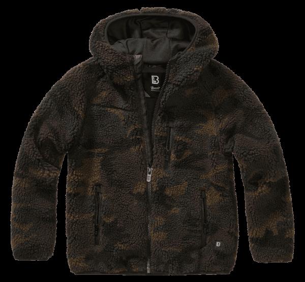 Brandit Kids Teddyfleece Jacket hood - woodland - vorn - armyoutlet
