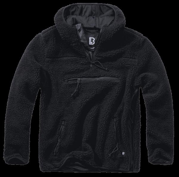 Brandit Teddyfleece Worker Pullover - schwarz - vorn - armyoutlet