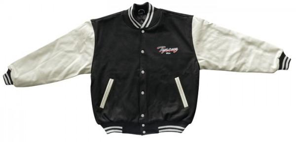 Tysonz Baseballjacke mit Leder Arm schwarz weiß