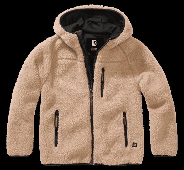 Brandit Kids Teddyfleece Jacket hood - camel - vorn - armyoutlet