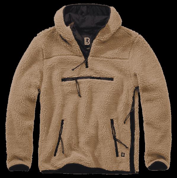 Brandit Teddyfleece Worker Pullover - camel - vorn - armyoutlet