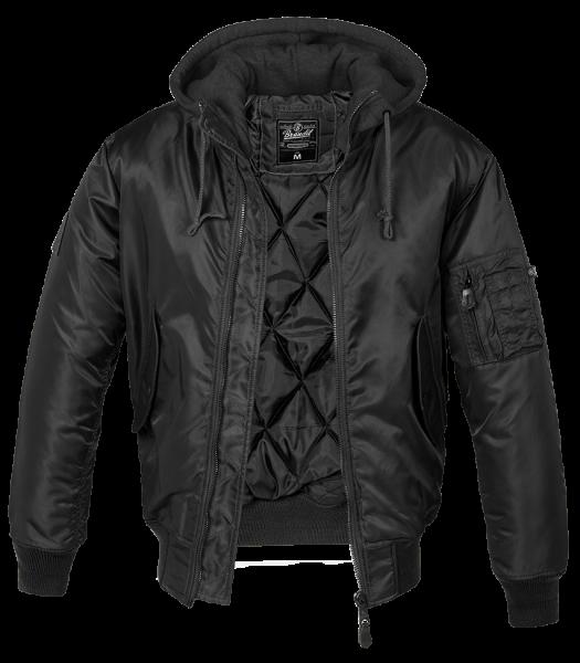 Brandit MA1 Hooded Sweat Jacket schwarz vorn - armyoutlet.de