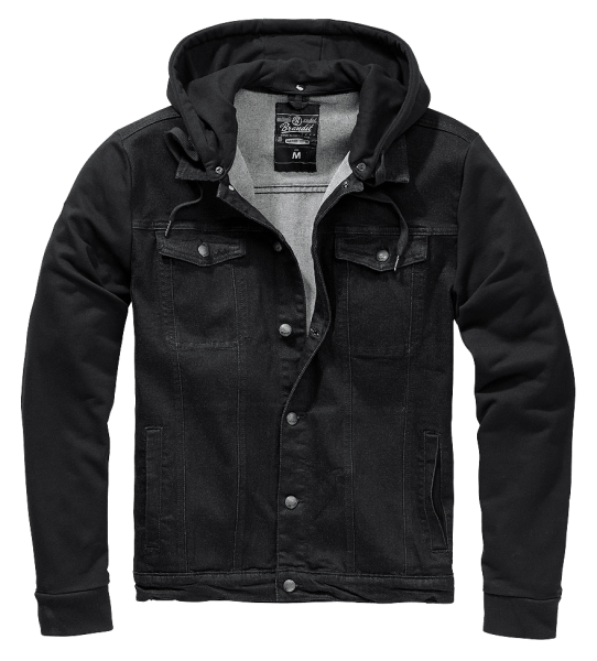 Brandit Cradock Denim Sweat Jacket schwarz vorn - armyoutlet.de