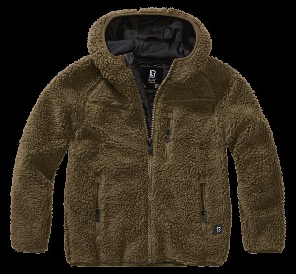Brandit Kids Teddyfleece Jacket hood - oliv - vorn - armyoutlet