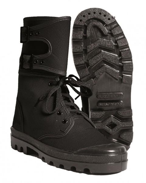 Französische Commando Canvas Stiefel mit Schnalle schwarz