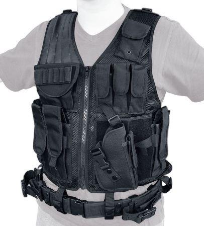 SWAT II Tactical Weste schwarz Pistolenholster abnehmbar
