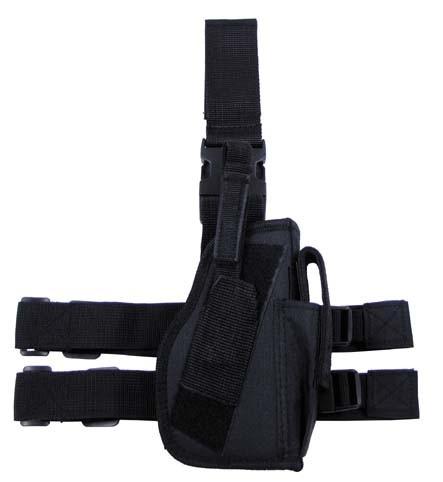 Pistolenbeinholster 2 mit Bein- und Gürtelbefestigung rechts schwarz